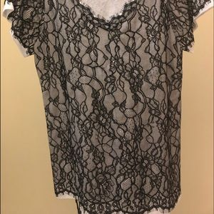 Tops - DVF Lace Top with Eyelash Trim EUC